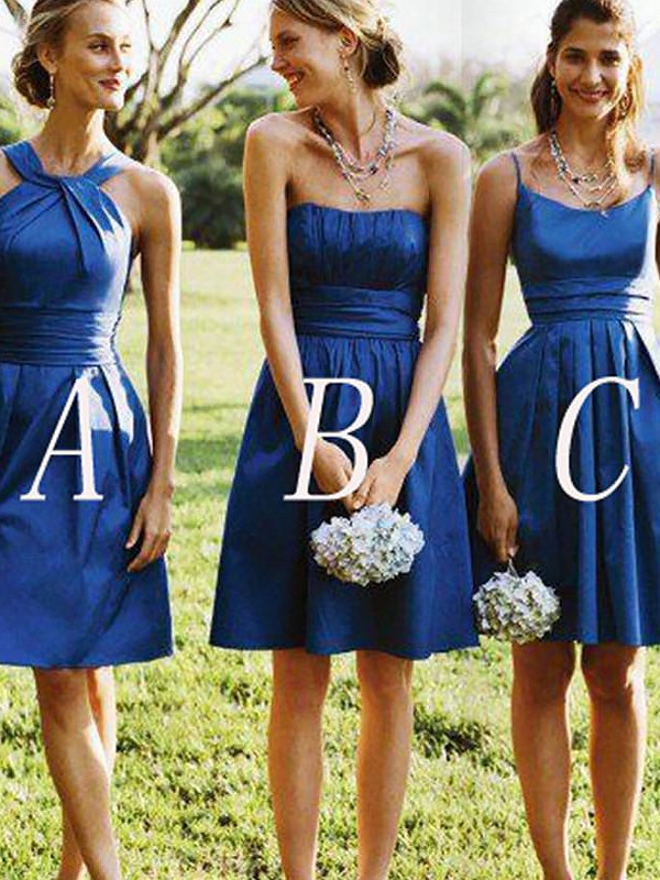 A-Line/Princess Satin Sleeveless Short Bridesmaid Dresses