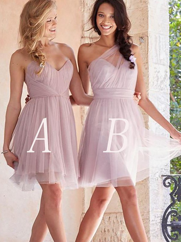 A-Line/Princess Tulle Sleeveless Short Bridesmaid Dresses