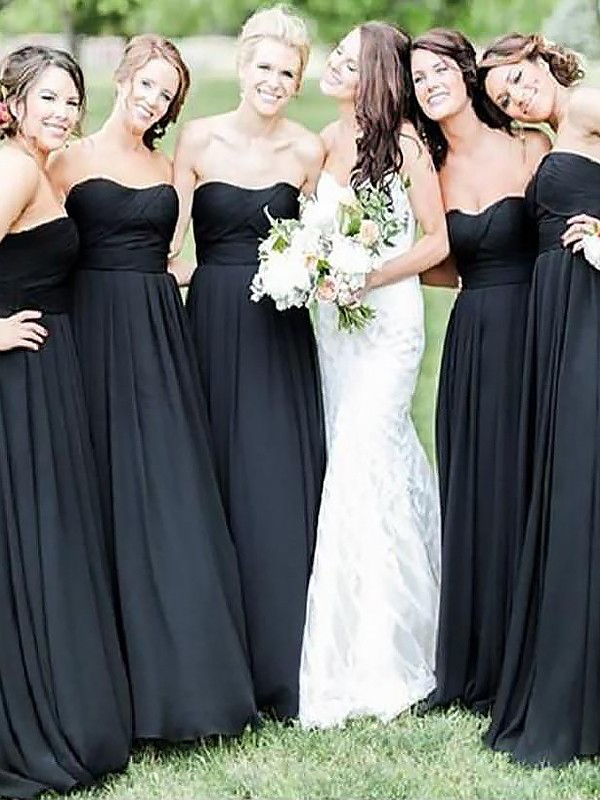 A-Line/Princess Sweetheart Chiffon Floor-Length Sleeveless Bridesmaid Dresses
