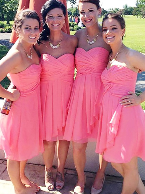A-Line/Princess Sweetheart Chiffon Sleeveless Short Bridesmaid Dresses