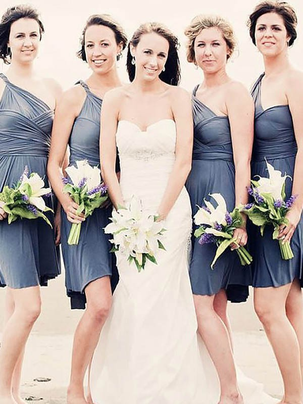A-Line/Princess One-Shoulder Sleeveless Chiffon Short Bridesmaid Dresses