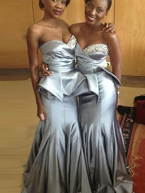Trumpet/Mermaid Sweetheart Sleeveless Satin Sweep/Brush Train Bridesmaid Dresses