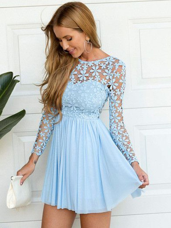 A-Line/Princess Scoop Lace Long Sleeves Chiffon Short/Mini Dresses
