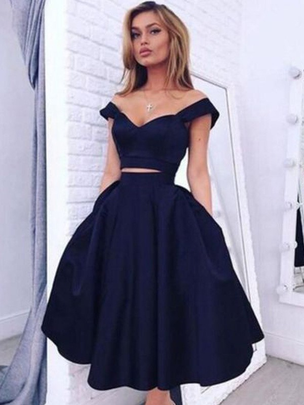 A-Line/Princess Off-the-Shoulder Sleeveless Satin Tea-Length Dresses