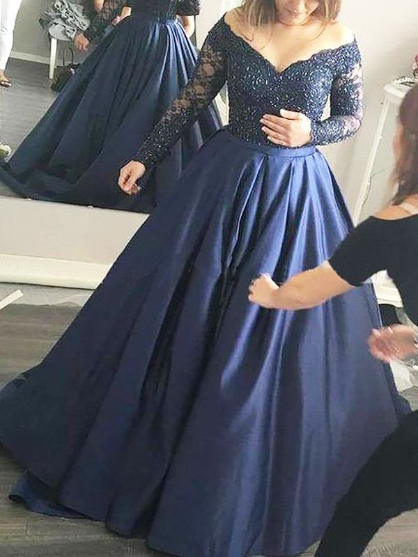 Ball Gown Off-the-Shoulder Beading Long Sleeves Satin Sweep/Brush Train Dresses