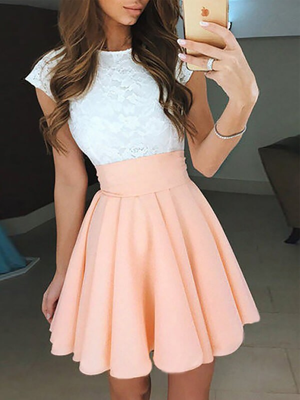 A-Line/Princess Jewel Sleeveless Lace Chiffon Short Dresses