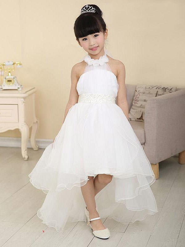 A-Line/Princess High Neck Sleeveless Beading Organza Sweep/Brush Train Flower Girl Dresses