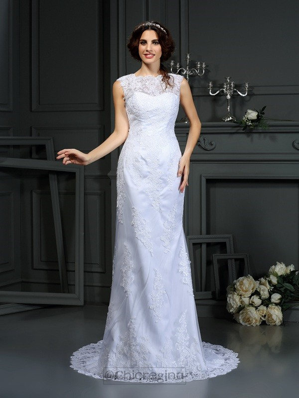 Chicregina Sheath/Column High Neck Court Train Lace Wedding Dress With Beading