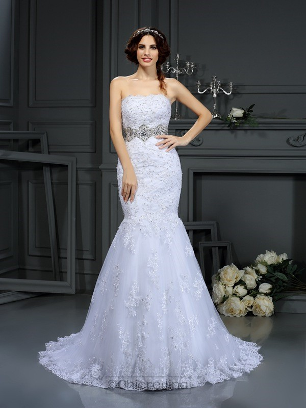 Chicregina Trumpet/Mermaid Strapless Lace Court Train Wedding Dress with Pleats