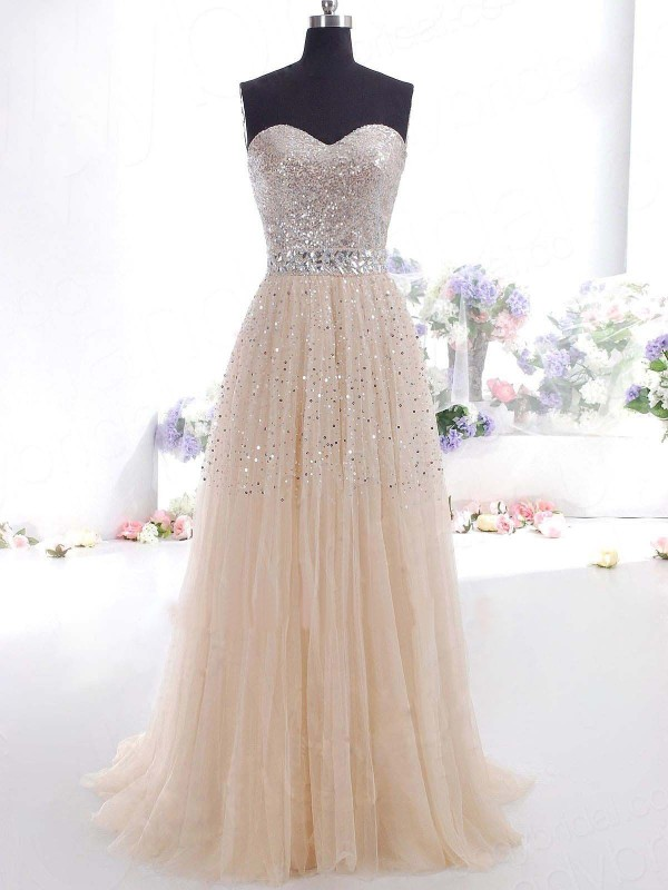 A-Line/Princess Sweetheart Sleeveless Other Tulle Sweep/Brush Train Dresses