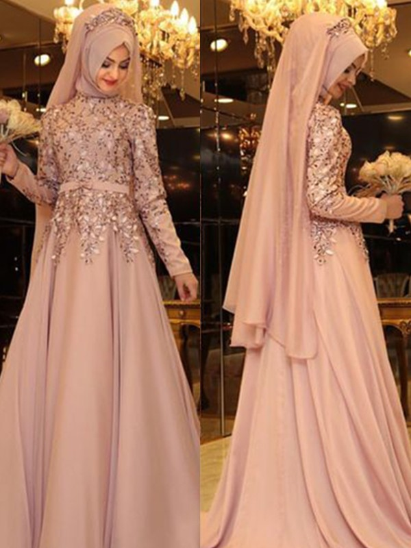 A-Line/Princess High Neck Chiffon Long Sleeves Floor-Length Dresses With Beading