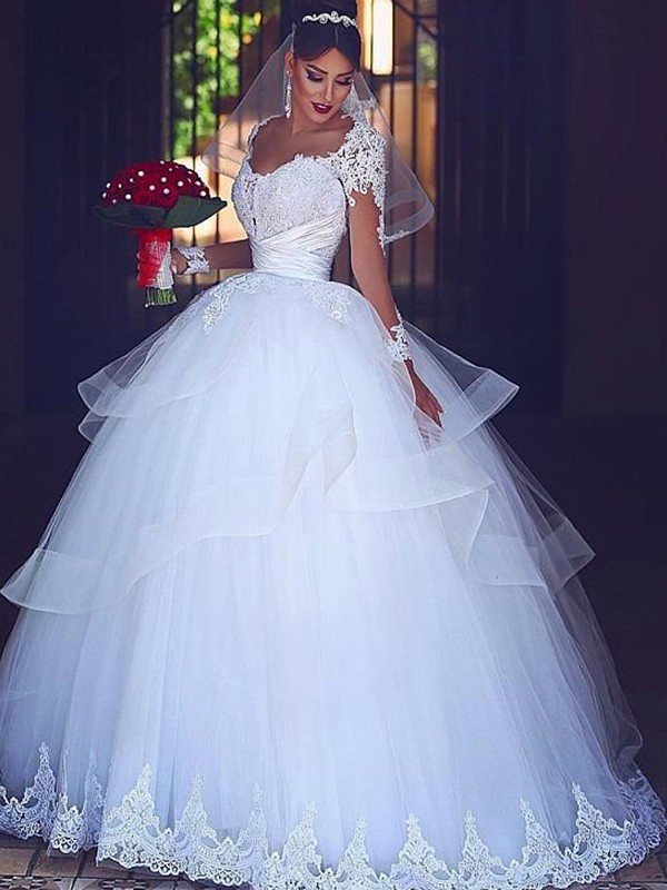 Ball Gown Sweetheart Long Sleeves Floor-Length Tulle Wedding Dresses With Lace