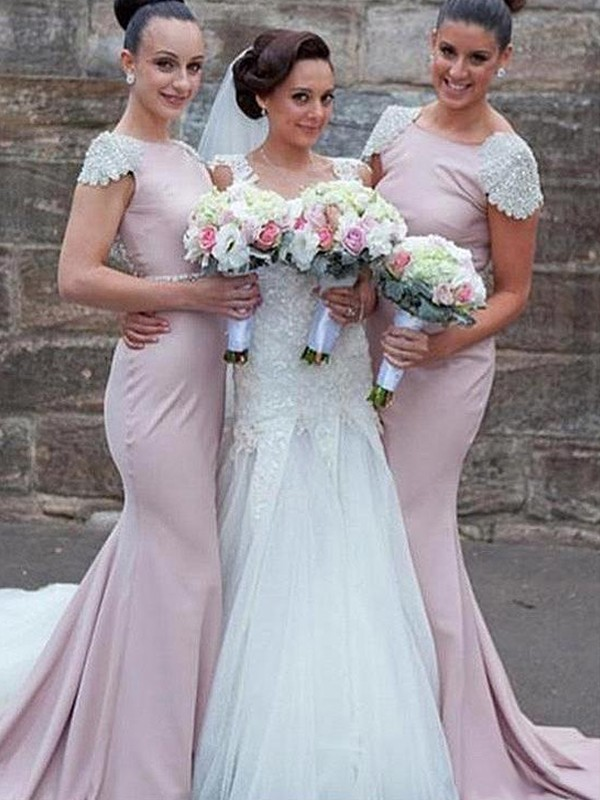 Trumpet/Mermaid Bateau Sweep/Brush Train Sleeveless Satin Bridesmaid Dresses With Beading