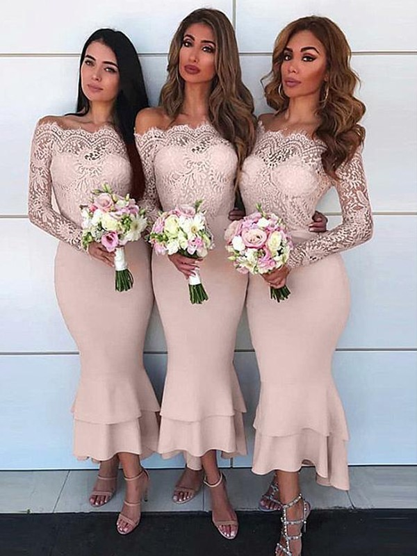 Sheath/Column Chiffon Off-the-Shoulder Lace Ankle-Length Long Sleeves Bridesmaid Dresses