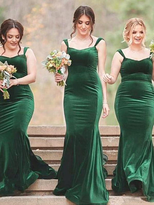 Sheath/Column Spaghetti Straps Velvet Sleeveless Ruffles Sweep/Brush Train Bridesmaid Dresses