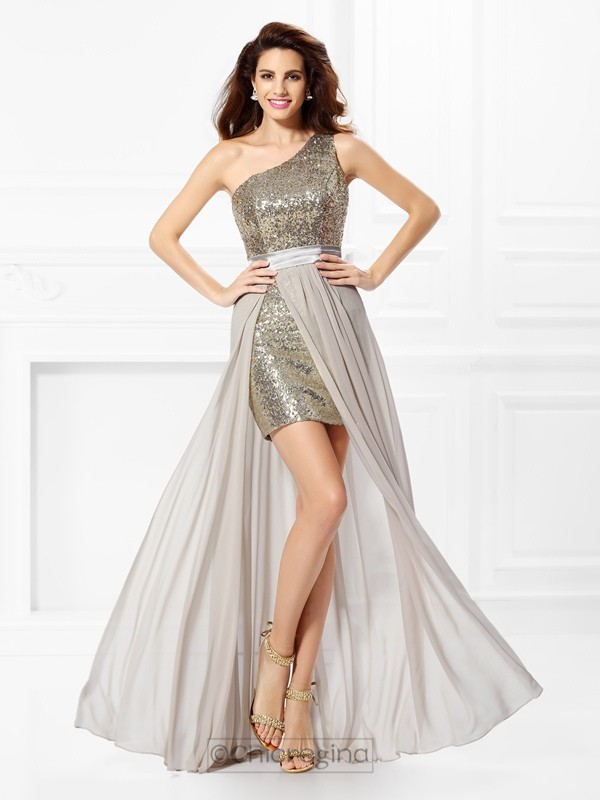 Chicregina Long A-Line/Princess One-Shoulder Sequin Chiffon Dress With Pleats
