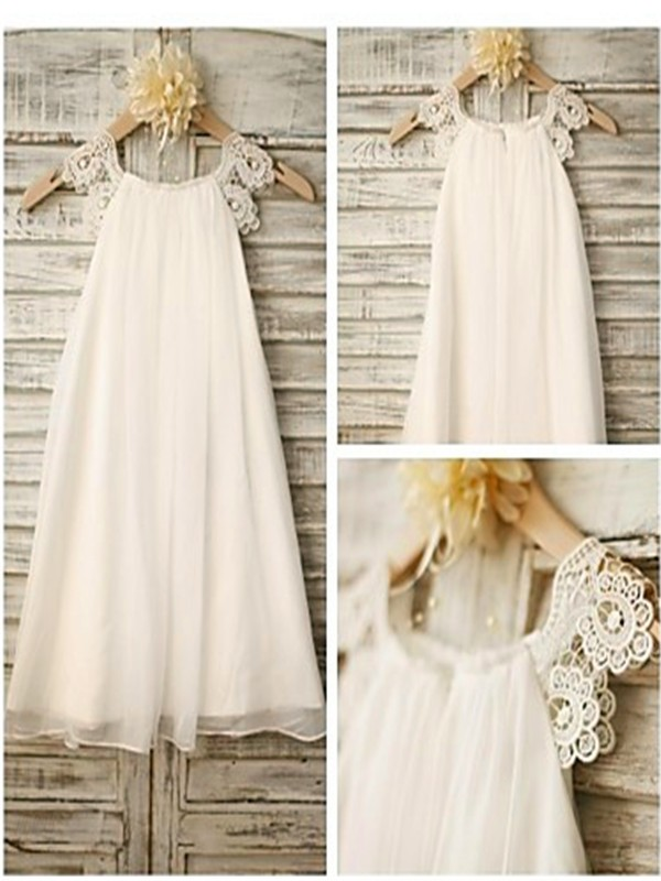 A-Line/Princess Scoop Sleeveless Chiffon Tea-Length Flower Girl Dress with Lace