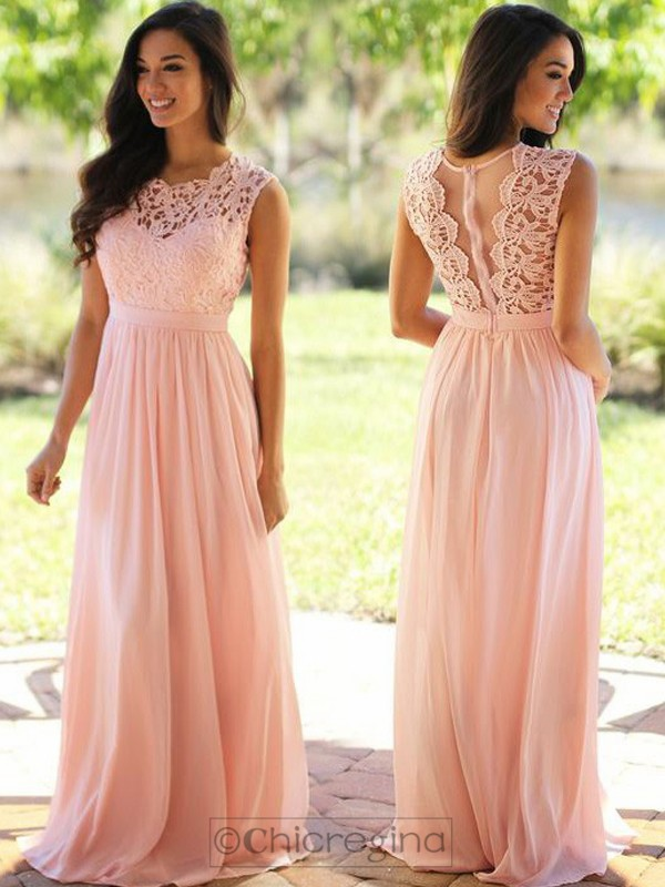 A-Line/Princess Scoop Sleeveless Long Chiffon Dress With Appliques