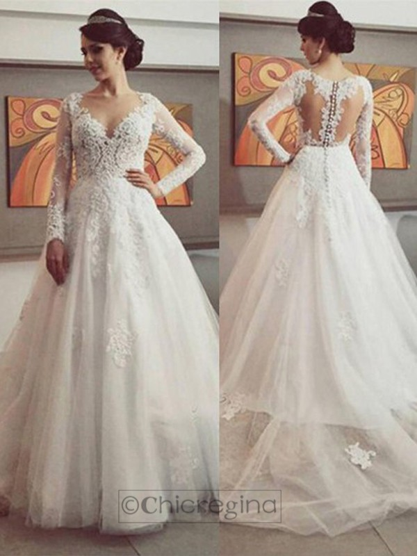 Fashion Ball Gown V-neck Long Sleeves Court Train Tulle Wedding Dress With Lace