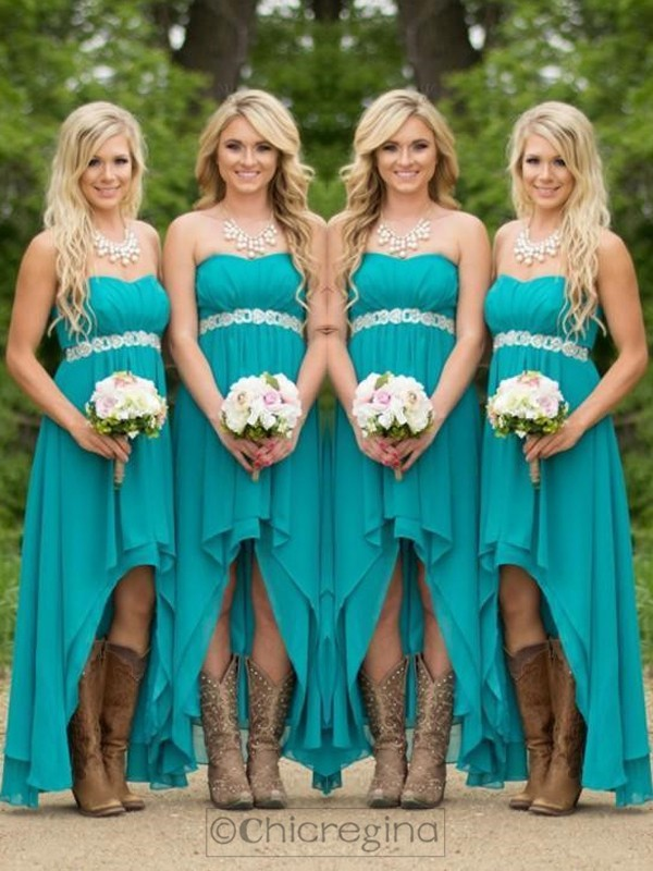 Green A-Line/Princess Sweetheart Sleeveless Asymmetrical Chiffon Bridesmaid Dress With Beading