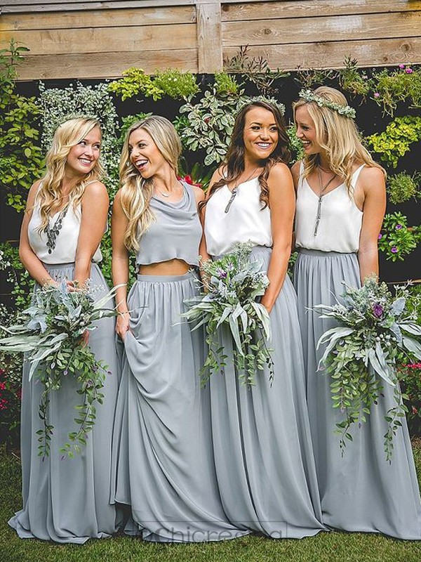 Grey A-Line/Princess Sleeveless Long V-neck Chiffon Bridesmaid Dress