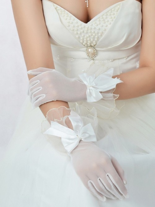 Women's Best Tulle Bowknot Wedding Gloves