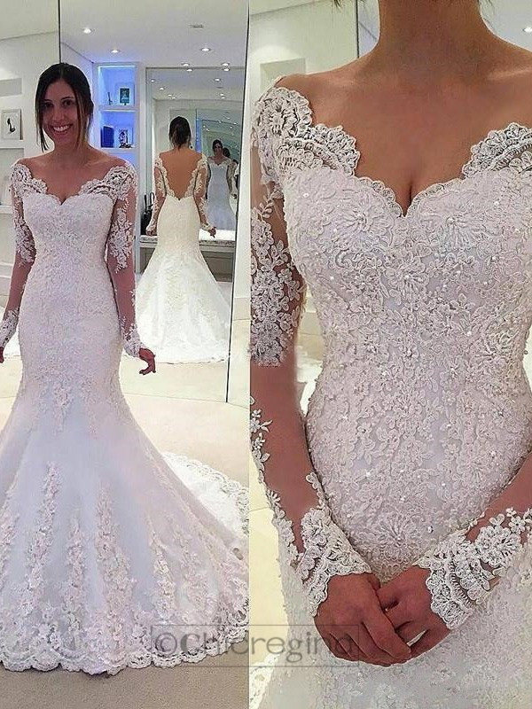 Mermaid V-neck Long Sleeves Court Train Tulle Wedding Dress With Lace
