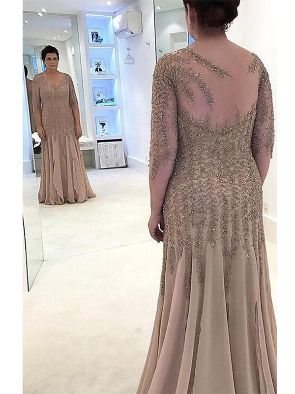 Sheath/Column Sheer Neck Long Sleeves Applique Floor-Length Chiffon Mother Of The Bride Dresses