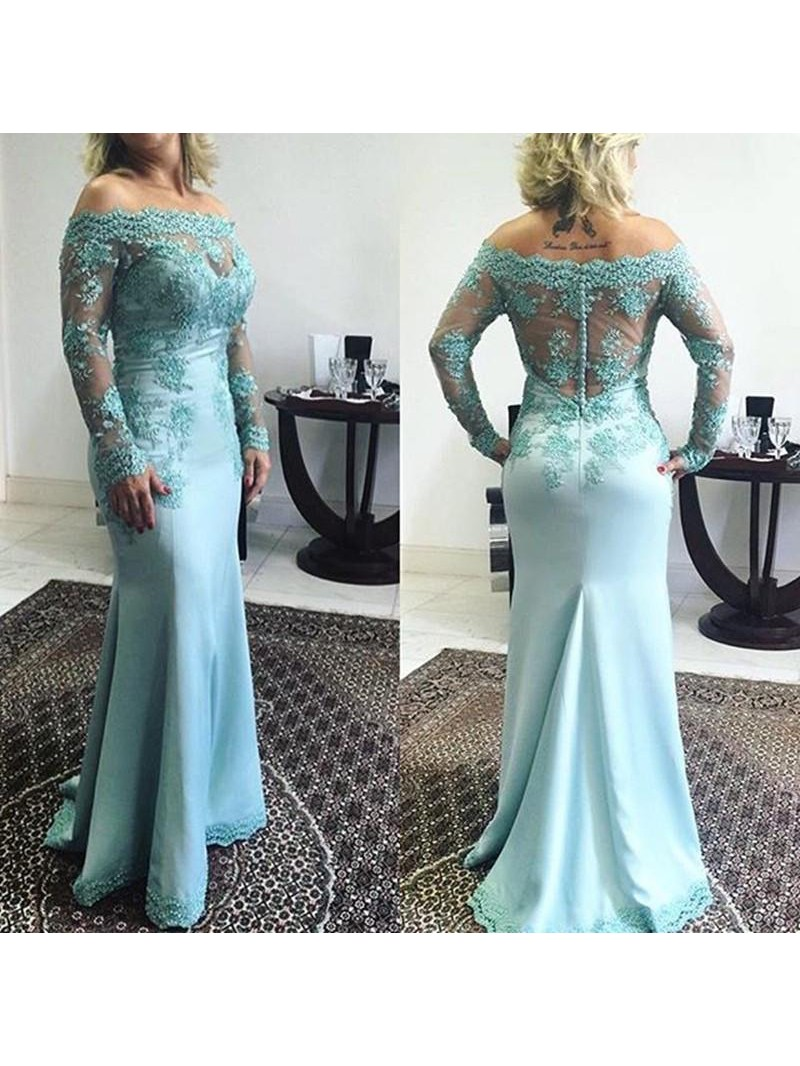 Trumpet/Mermaid Off-the-Shoulder Long Sleeves Applique Sweep/Brush Train Elastic Woven Satin Mother Of The Bride Dresses