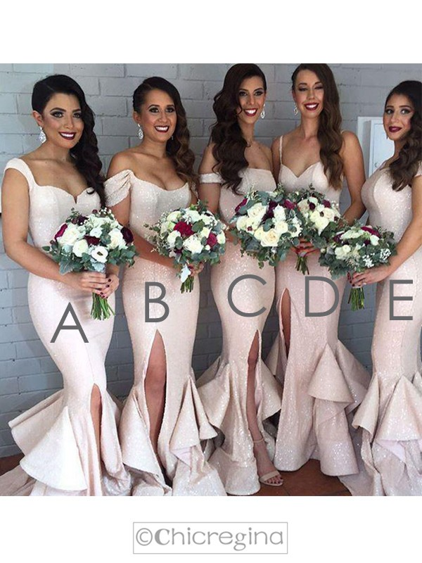 Pearl Pink Trumpet/Mermaid Sleeveless Long Layers Bridesmaid Dress With Sequins