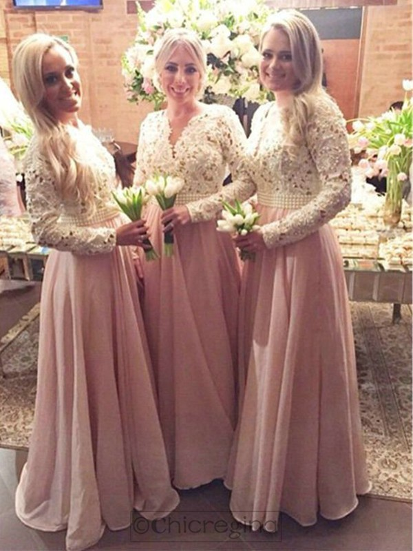 Pink A-Line/Princess Long Sleeves V-neck Long Chiffon Bridesmaid Dress With Lace