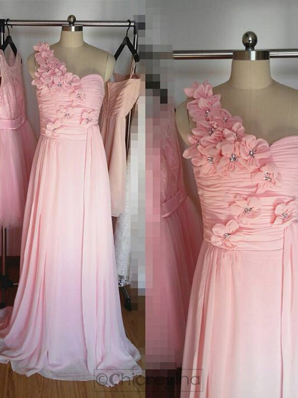Pink A-Line/Princess One-Shoulder Sleeveless Long Chiffon Bridesmaid Dress With Hand-Made Flower