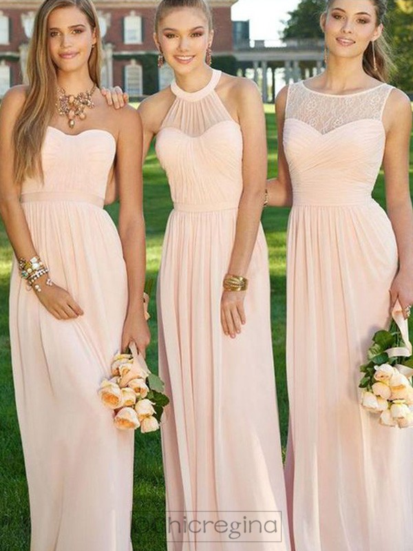 Pink A-Line/Princess Sleeveless Long Chiffon Bridesmaid Dress With Ruched