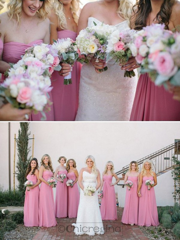 Pink A-Line/Princess Sleeveless Sweetheart Long Chiffon Bridesmaid Dress
