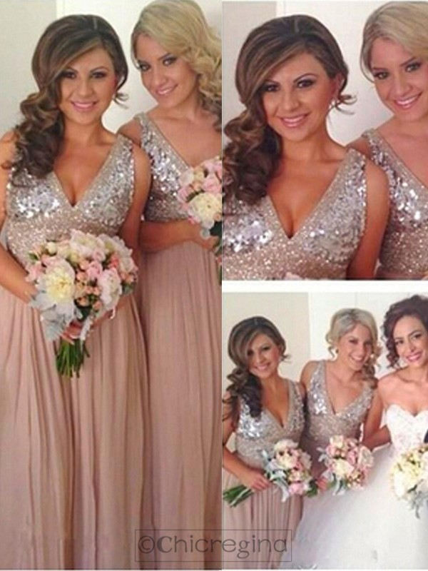 Pink A-Line/Princess V-neck Sleeveless Long Sequin Chiffon Bridesmaid Dress With Sequin