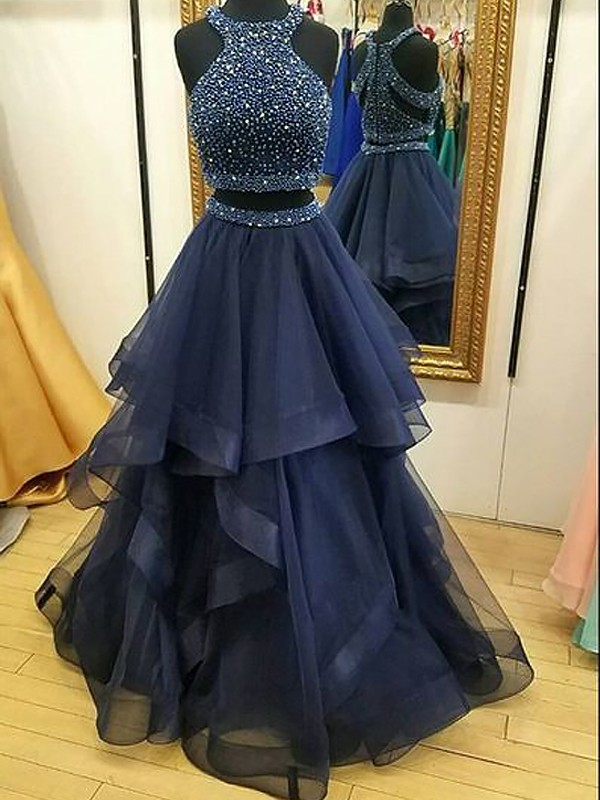 A-Line/Princess Sleeveless Halter Tulle Beading Floor-Length Two Piece Dresses