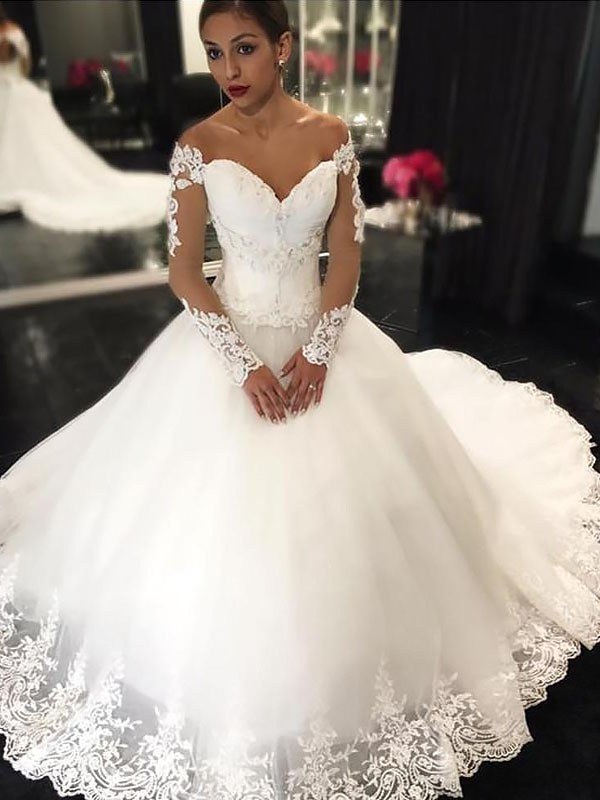 Ball Gown Applique  Long Sleeves Tulle Off-the-Shoulder Court Train Wedding Dresses