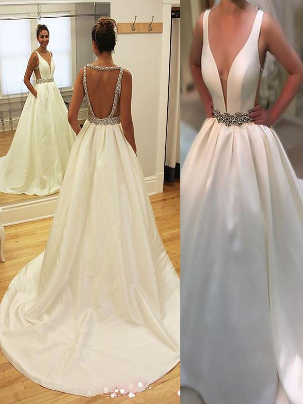 A-Line/Princess Court Train Satin V-neck Sleeveless Wedding Dresses