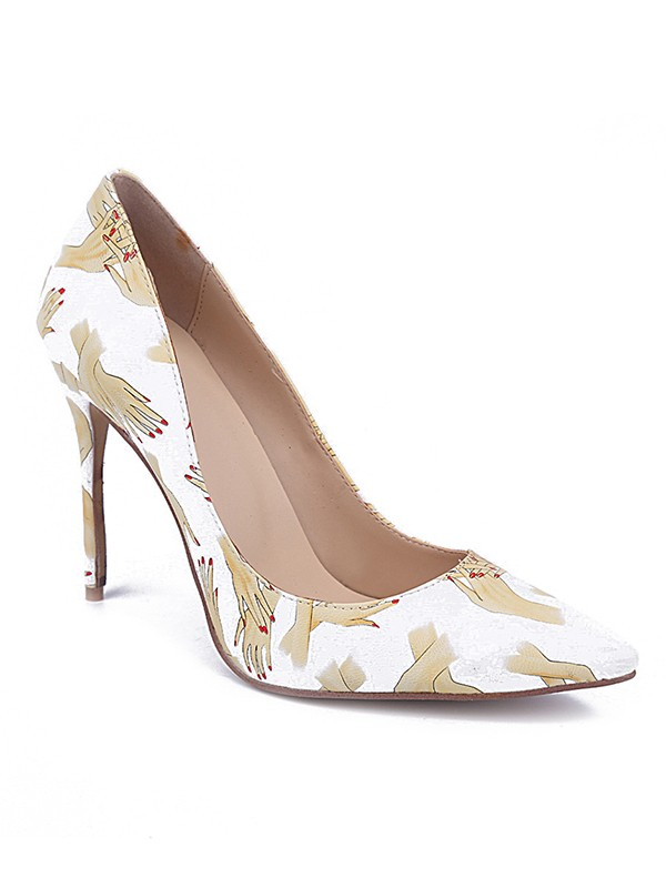 Chicregina Womens Closed Toe Pu Stiletto Heel Party Shoes with Printing
