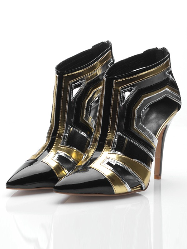 Chicregina Womens Stiletto Heel Patent Leather Closed Toe with Zipper Ankle Boots