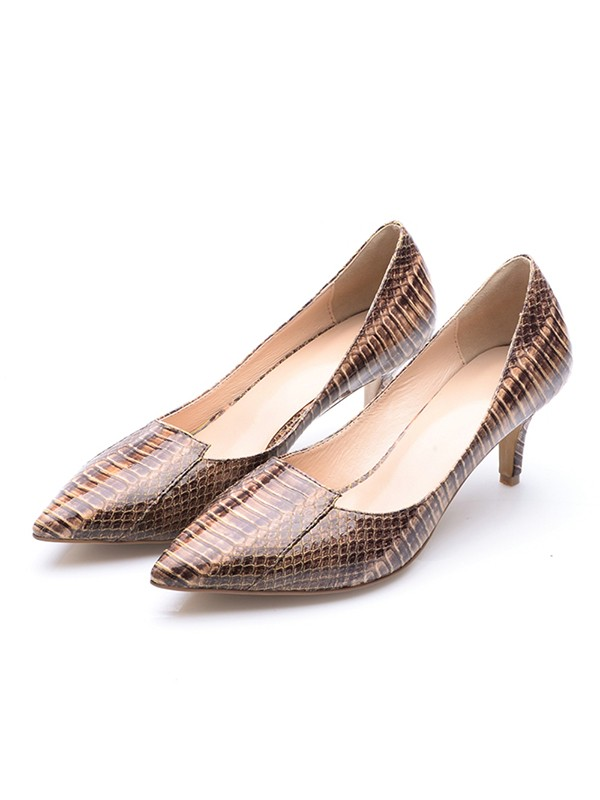 Chicregina Womens Cone Heel Patent Leather Closed Toe Print Party Shoes with Crocodile
