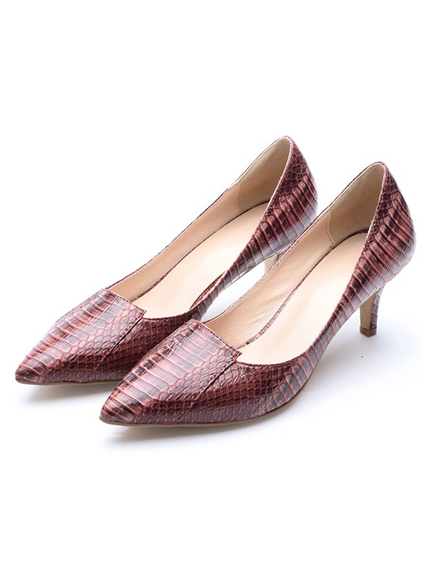 Chicregina Womens Patent Leather Closed Toe Cone Heel Print Party Shoes with Crocodile