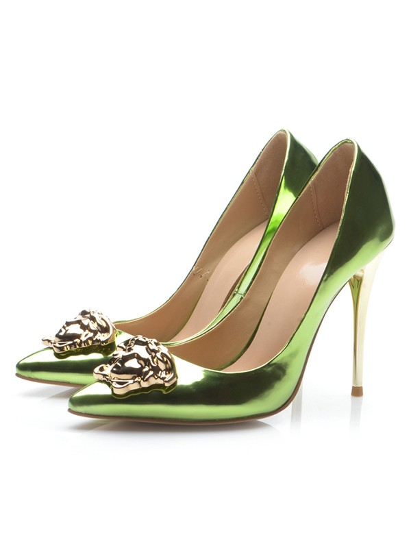 Chicregina Womens Closed Toe Patent Leather Stiletto Heel Party Shoes