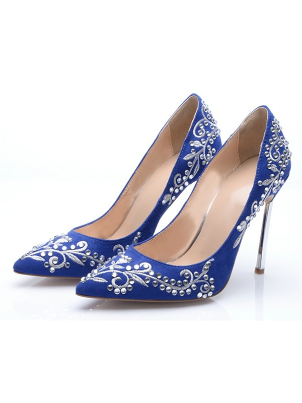 Chicregina Womens Suede Closed Toe Stiletto Heel Evening Shoes with Embroidery