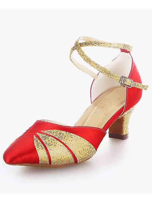 Chicregina Womens Satin Closed Toe Kitten Heel Dance Shoes with Buckle Sparkling Glitter