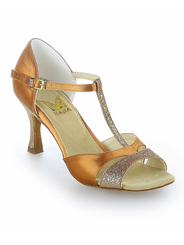 Chicregina Womens Satin Peep Toe Latin Dance Shoes with Buckle Spool Heel