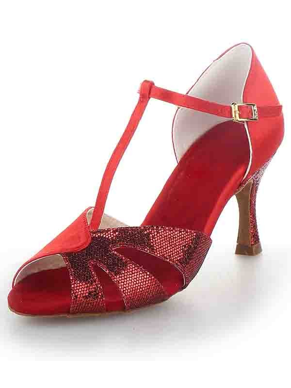 Chicregina Womens T Strap Peep Toe Spool Heel Satin Dance Shoes with Sparkling Glitter