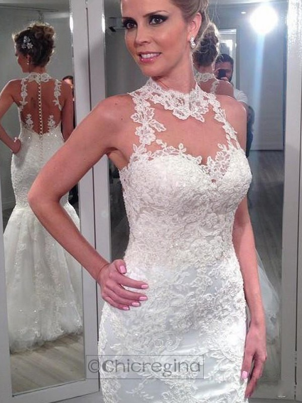 Trumpet/Mermaid High Neck Sleeveless Floor-Length Tulle Wedding Dress With Lace