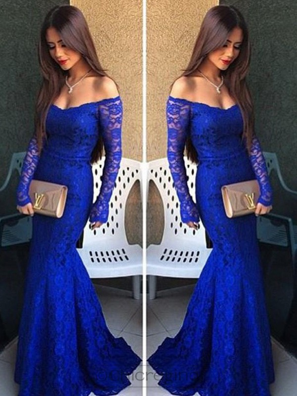 Trumpet/Mermaid Off-the-Shoulder Long Sleeves Sweep/Brush Train Dress With Lace