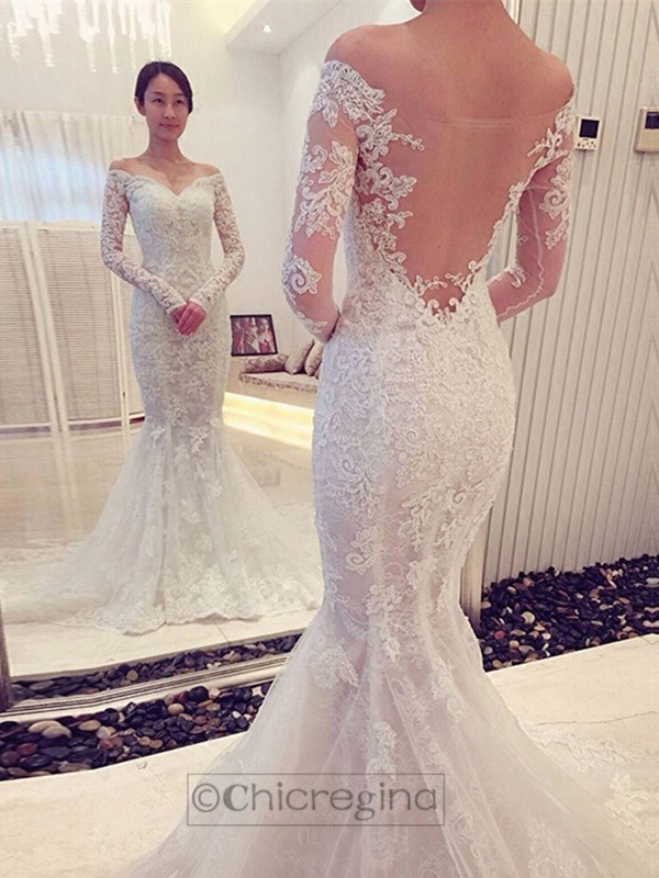 Trumpet/Mermaid Off-the-Shoulder Long Sleeves Chapel Train Wedding Dress